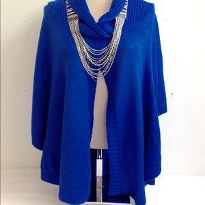 Shawl Collar Split Front Sweater Poncho Cape